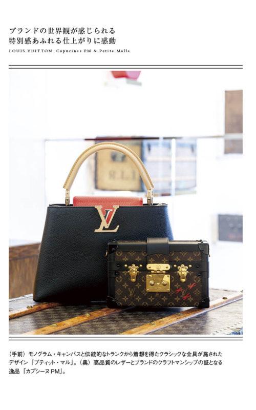 (手前)モノグラム・キャンバスと伝統的なトランクから着想を得たクラシックな金具が施されたデザイン「プティット・マル」。(奥)高品質のレザーとブランドのクラフトマンシップの証となる逸品「カプシーヌPM」。
